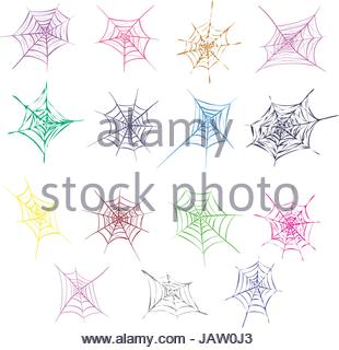 310x320 Colorful Drawing Black Happy Spider And Spider's Web Stock Photo