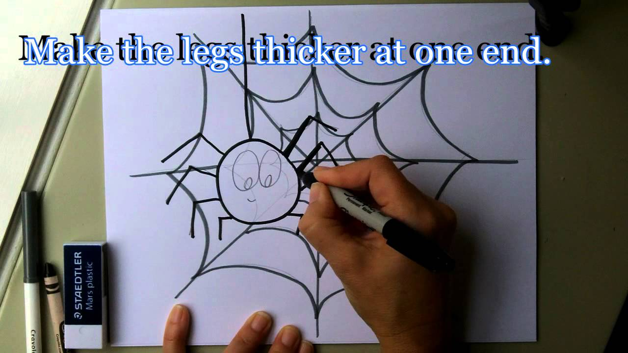 1280x720 Draw A Friendly Cartoon Spider And Spider Web. How To Draw