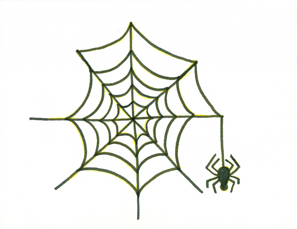 1024x791 Spider Web Drawings How To Draw A Halloween Spider With Spiderweb