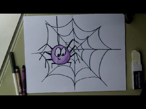 480x360 Draw A Cute Spider On A Web. Easy Drawing Tutorial. Halloween!