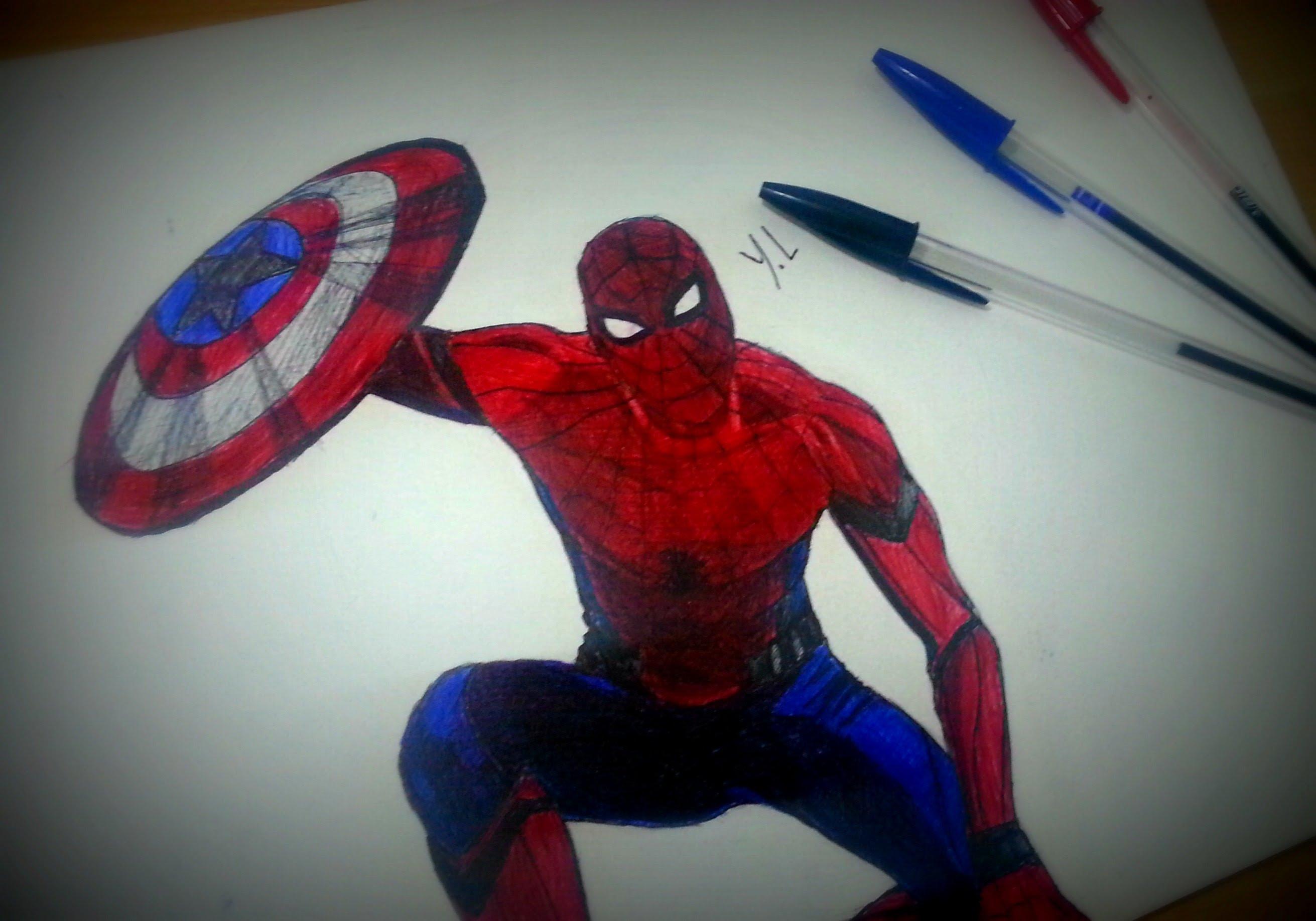 2622x1836 Spiderman Drawing In Ballpoint Pen