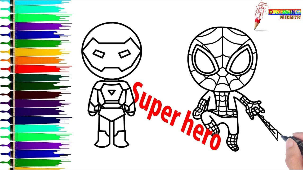 1280x720 Coloring Book Page 11 How To Draw Spiderman And Iron Man