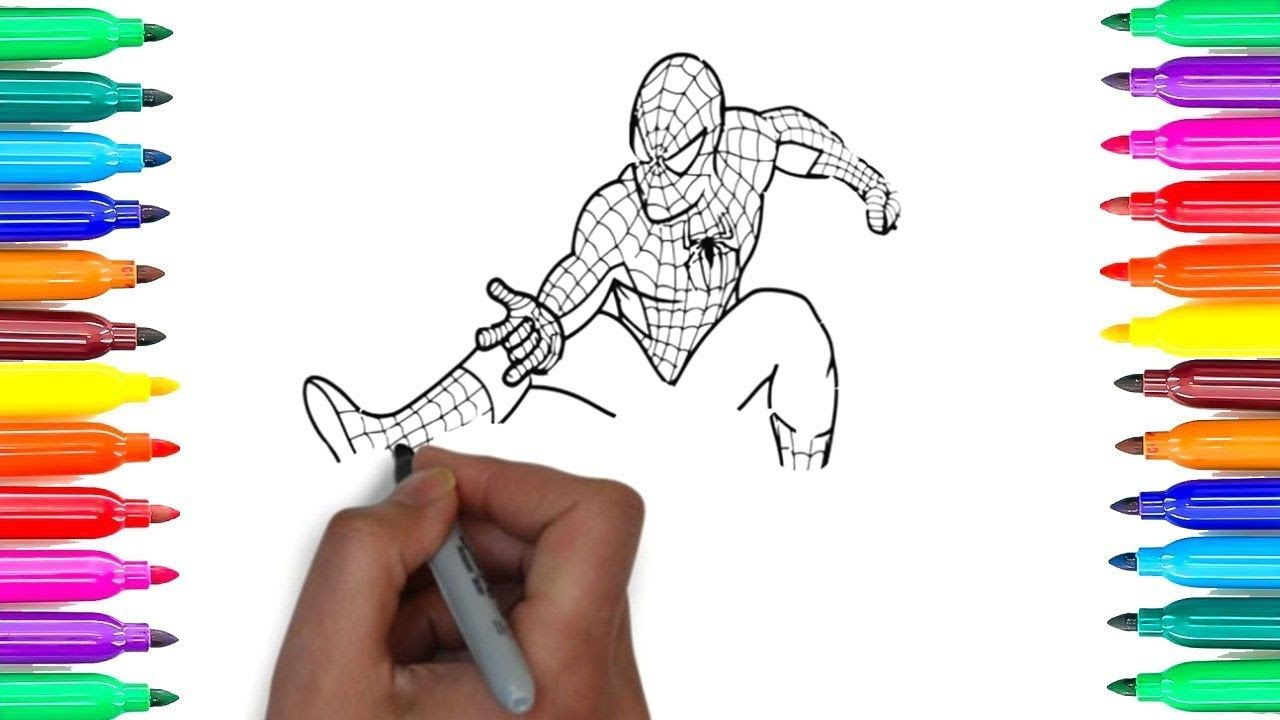 1280x720 Spiderman Coloring Pages, How To Draw Spiderman, Learn Colors