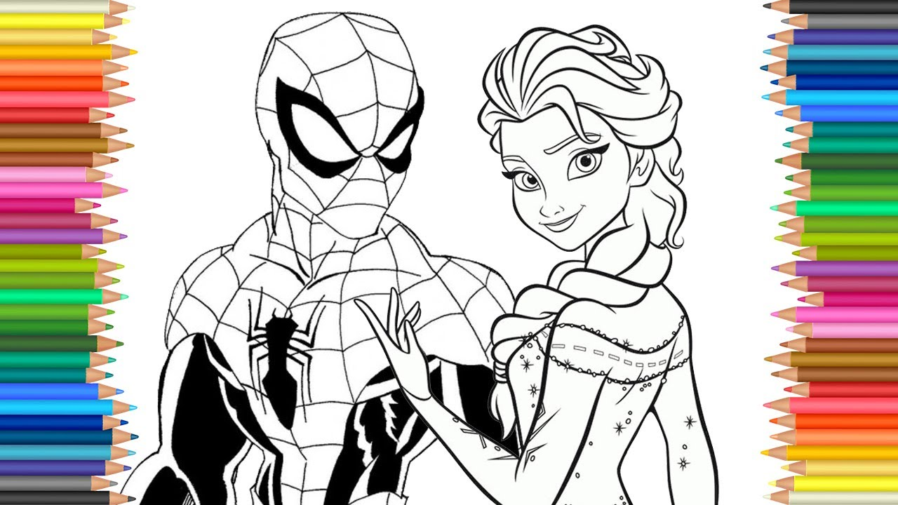 1280x720 Spiderman Amp Frozen Elsa Disney Coloring Page Lcoloring Book Fun