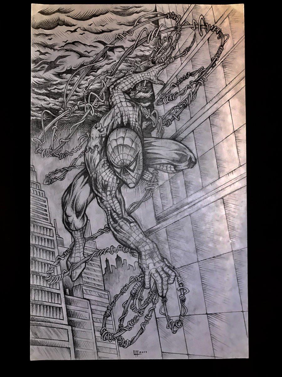 900x1200 Drawing Of Spiderman! Artwork By Landon Huber.