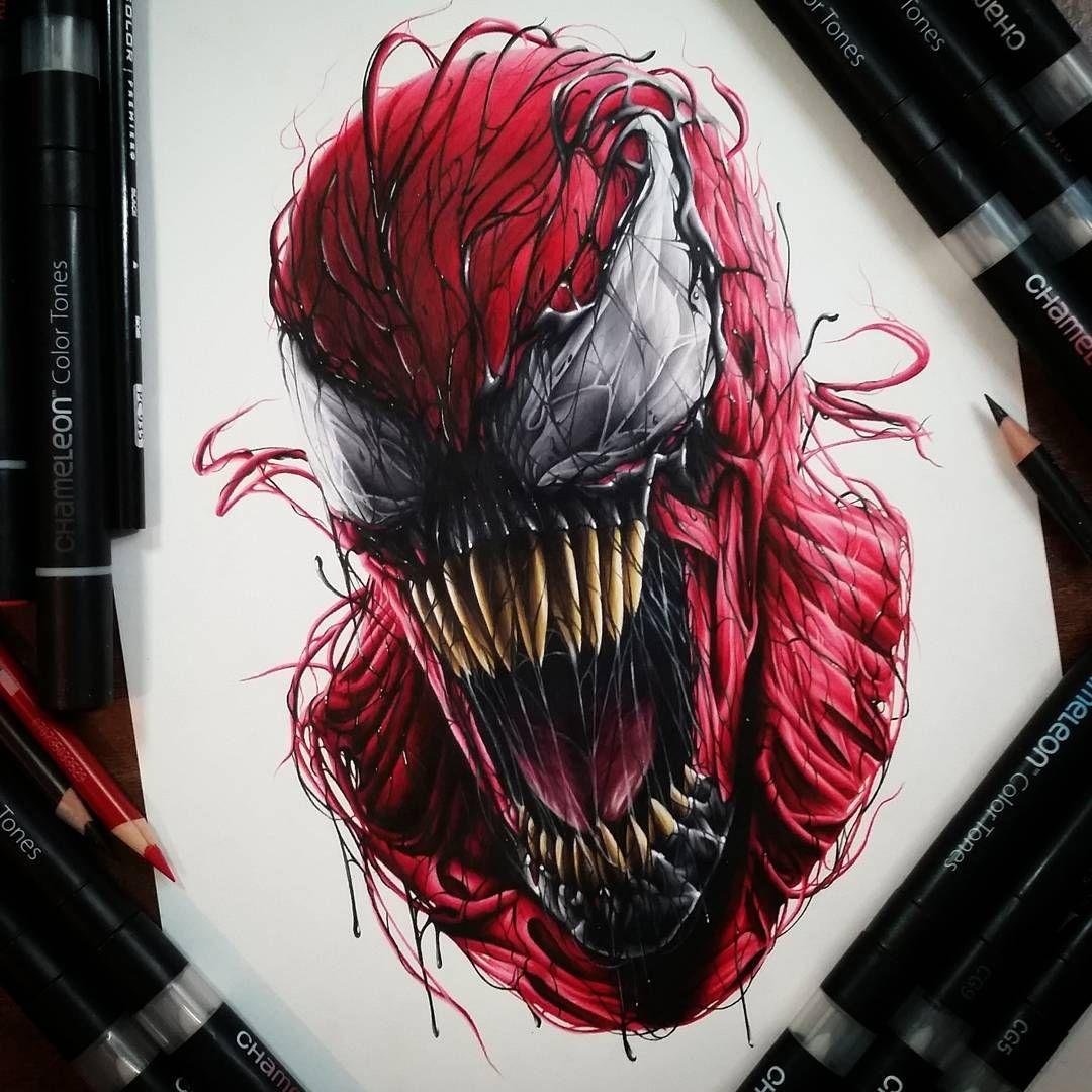 Venom Carnage Tattoo: Spiderman Venom Drawing At GetDrawings