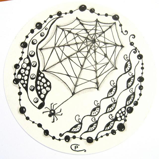 640x638 035 Spider Webs, Spider And Zentangles
