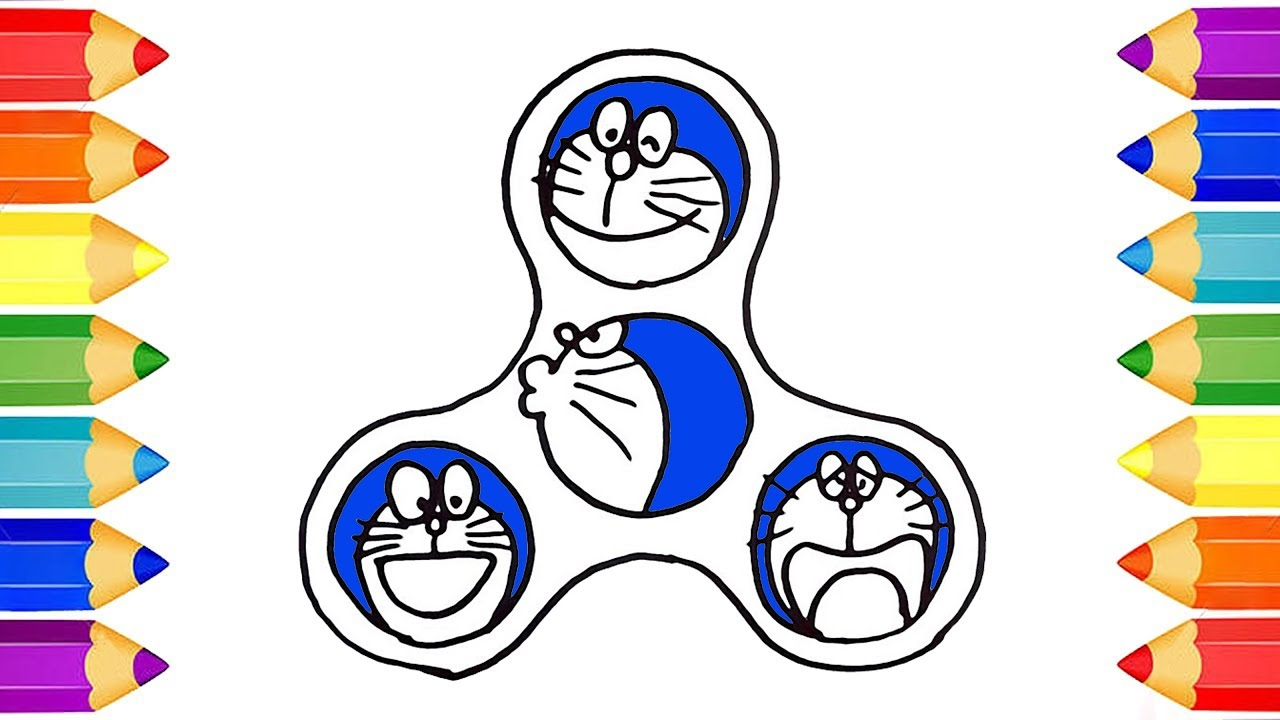1280x720 Doraemon Fidget Spinner Drawing And Coloring For Kids How