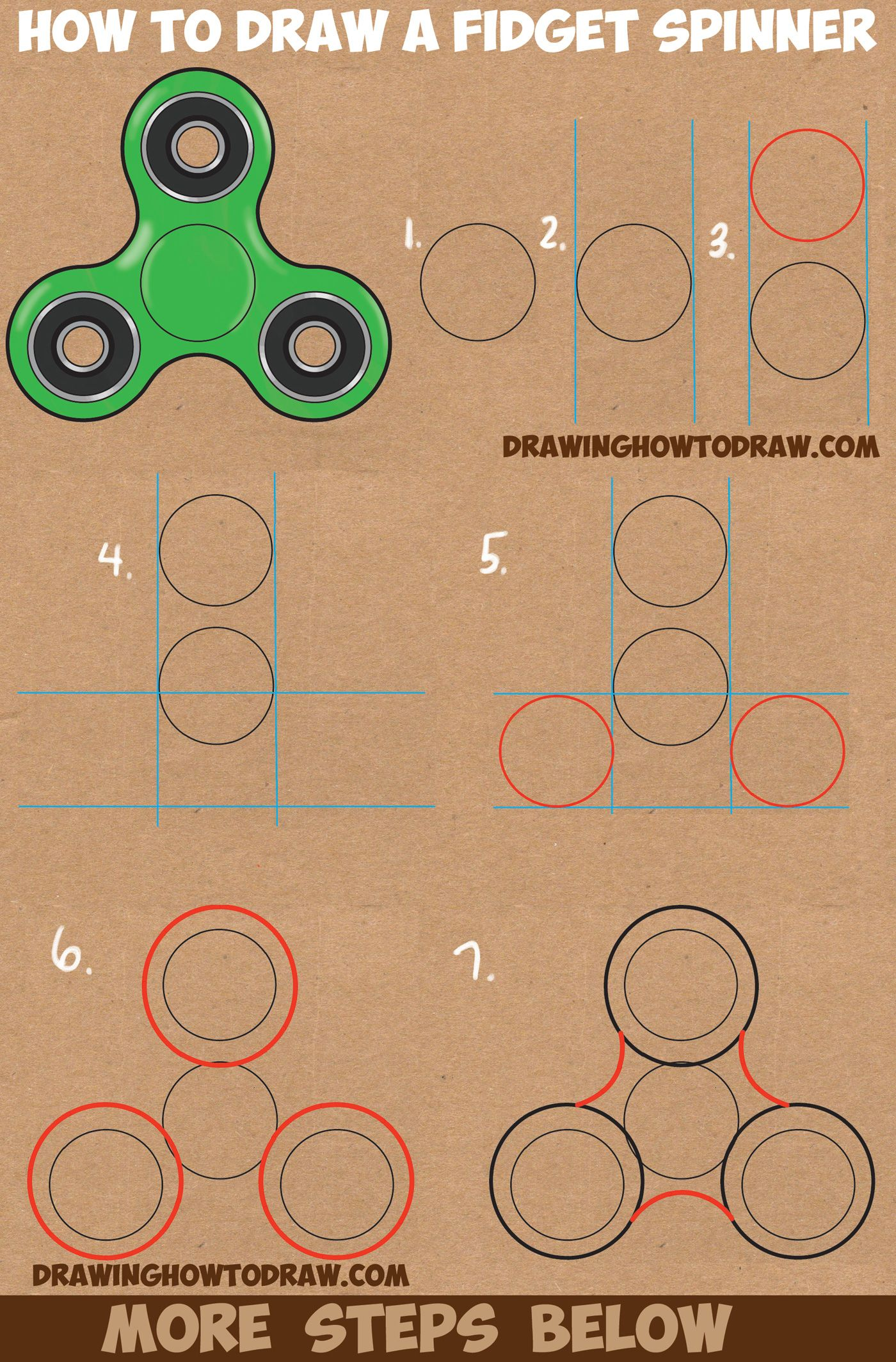 1400x2128 How To Draw A Fidget Spinner Easy Step By Step Drawing Tutorial