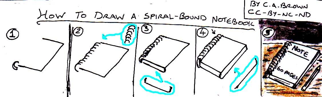 1125x339 How To Draw A Spiral Bound Notebook Pekoeblaze