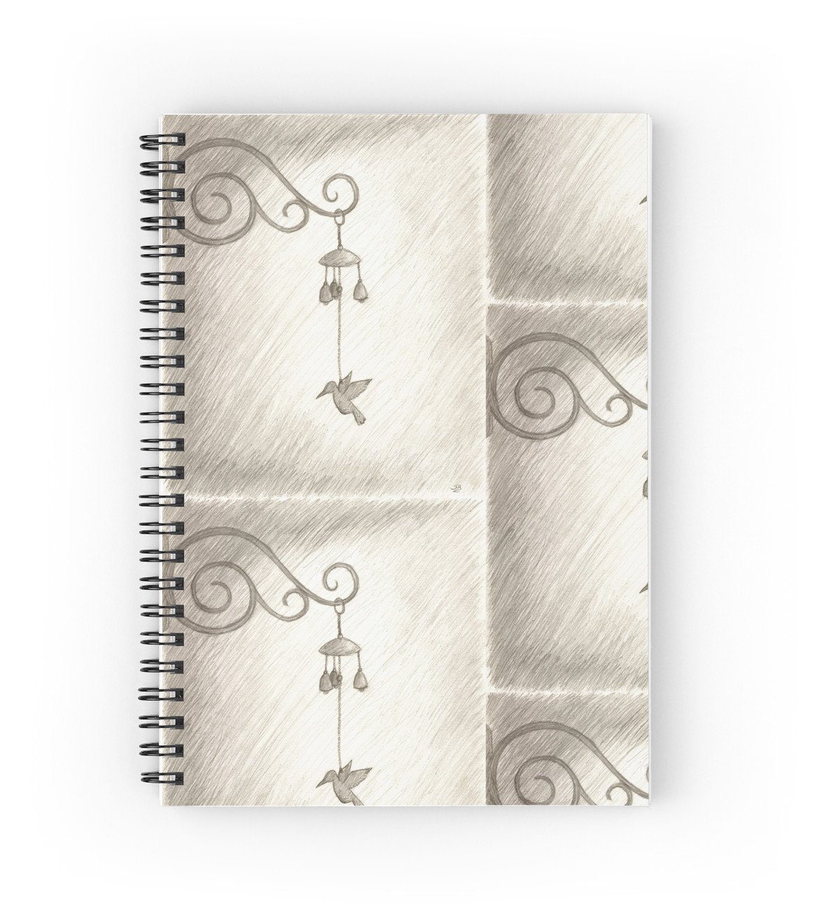 1171x1313 Hummingbird Wind Chime, Pencil Drawing Spiral Notebooks By