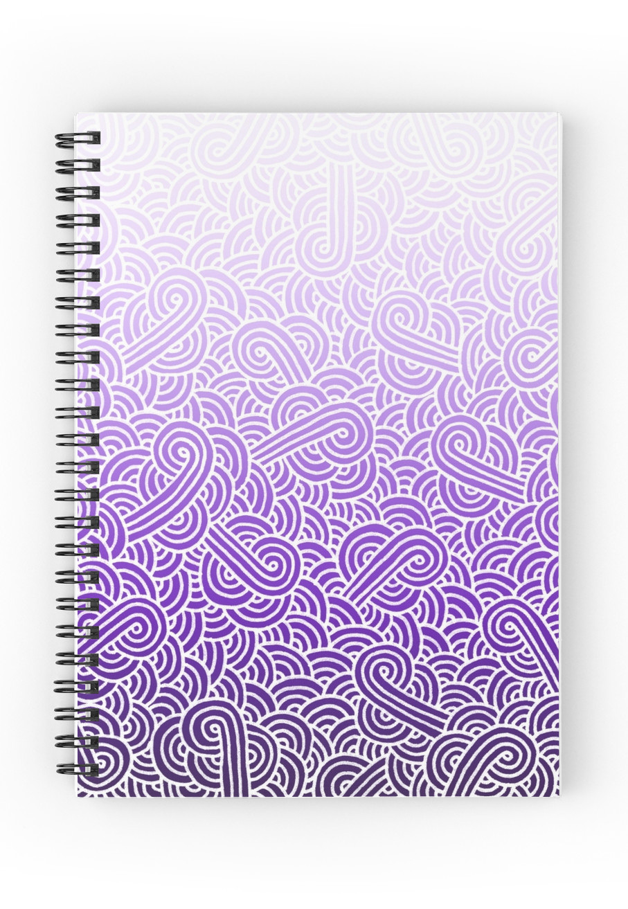 907x1313 Ombre Purple And White Swirls Zentangle Spiral Notebook By