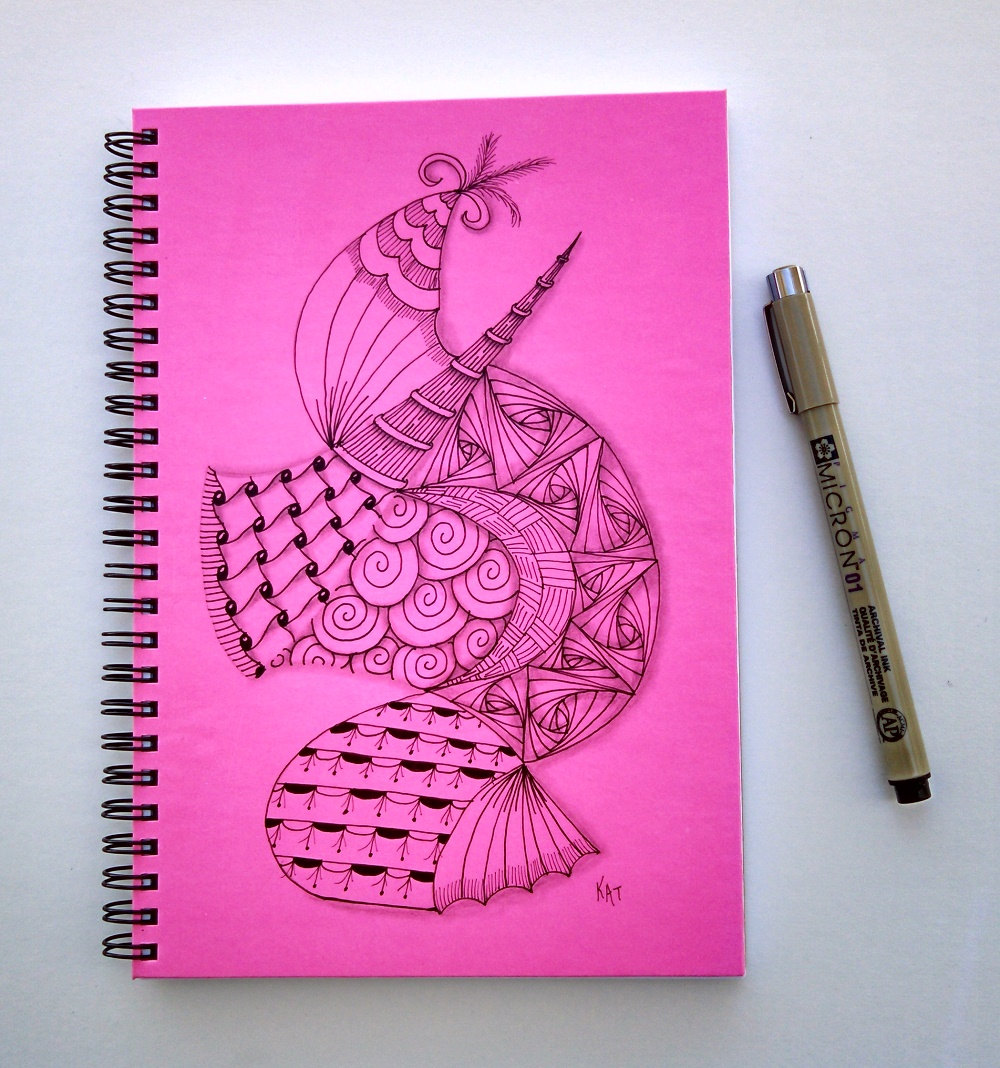 1000x1068 Spiral Writing Journal Free Shipping Original Ink Drawing