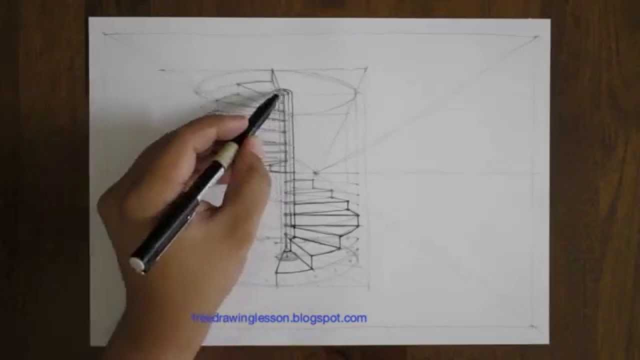 1280x720 How To Draw A Spiral Staircase