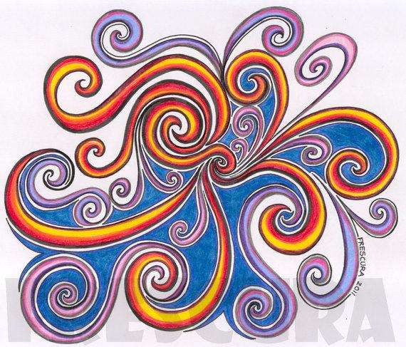 570x487 Abstract Colored Pencil Drawings Original Abstract Drawing
