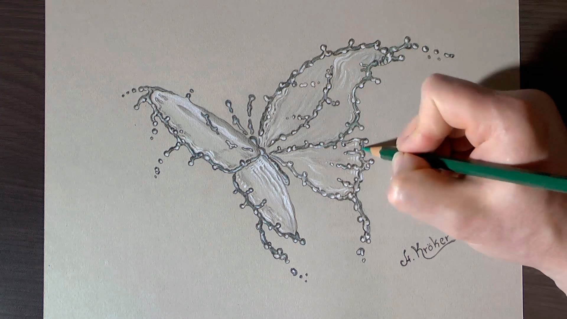 1920x1080 Drawing A Water Splash Butterfly