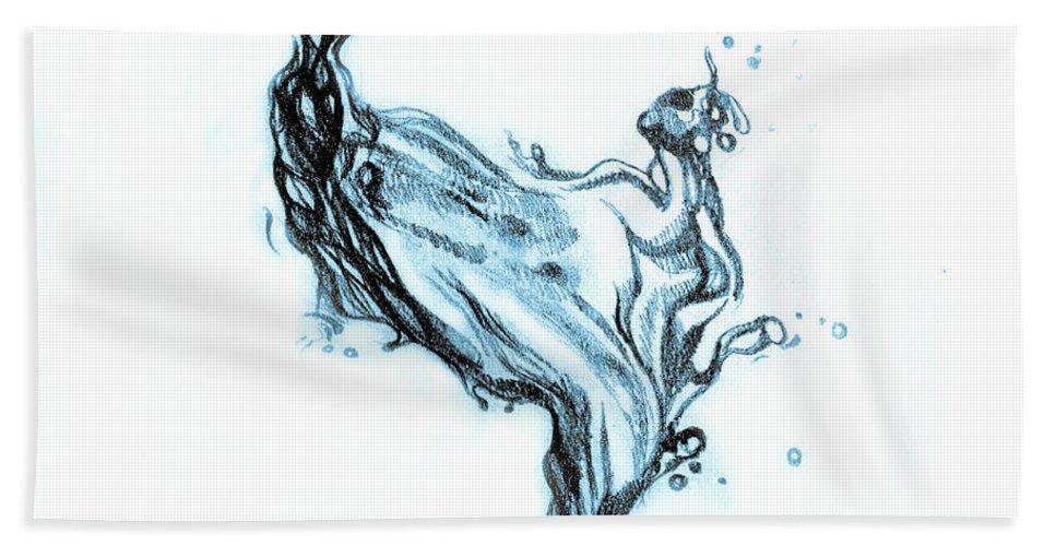 967x500 Water Splash Drawing Beach Towel For Sale By Oana Unciuleanu