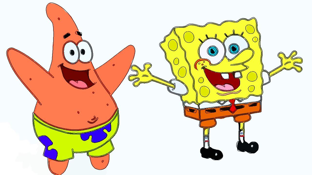 1280x720 Spongebob And Patrick Drawing