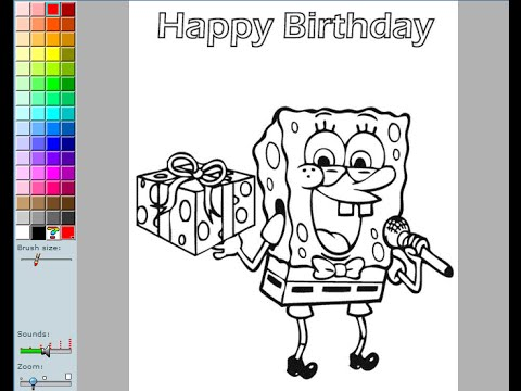 480x360 Spongebob Birthday Coloring Pages For Kids