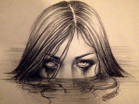480x360 Draw 3d Creepy Girl Sketch