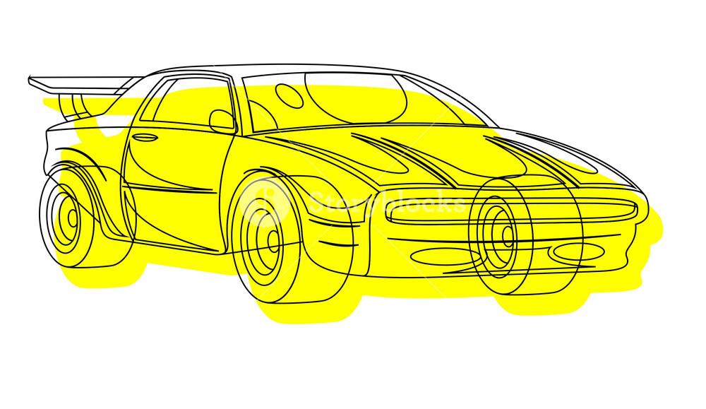 1000x579 Yellow Sports Car Drawing Royalty Free Stock Image