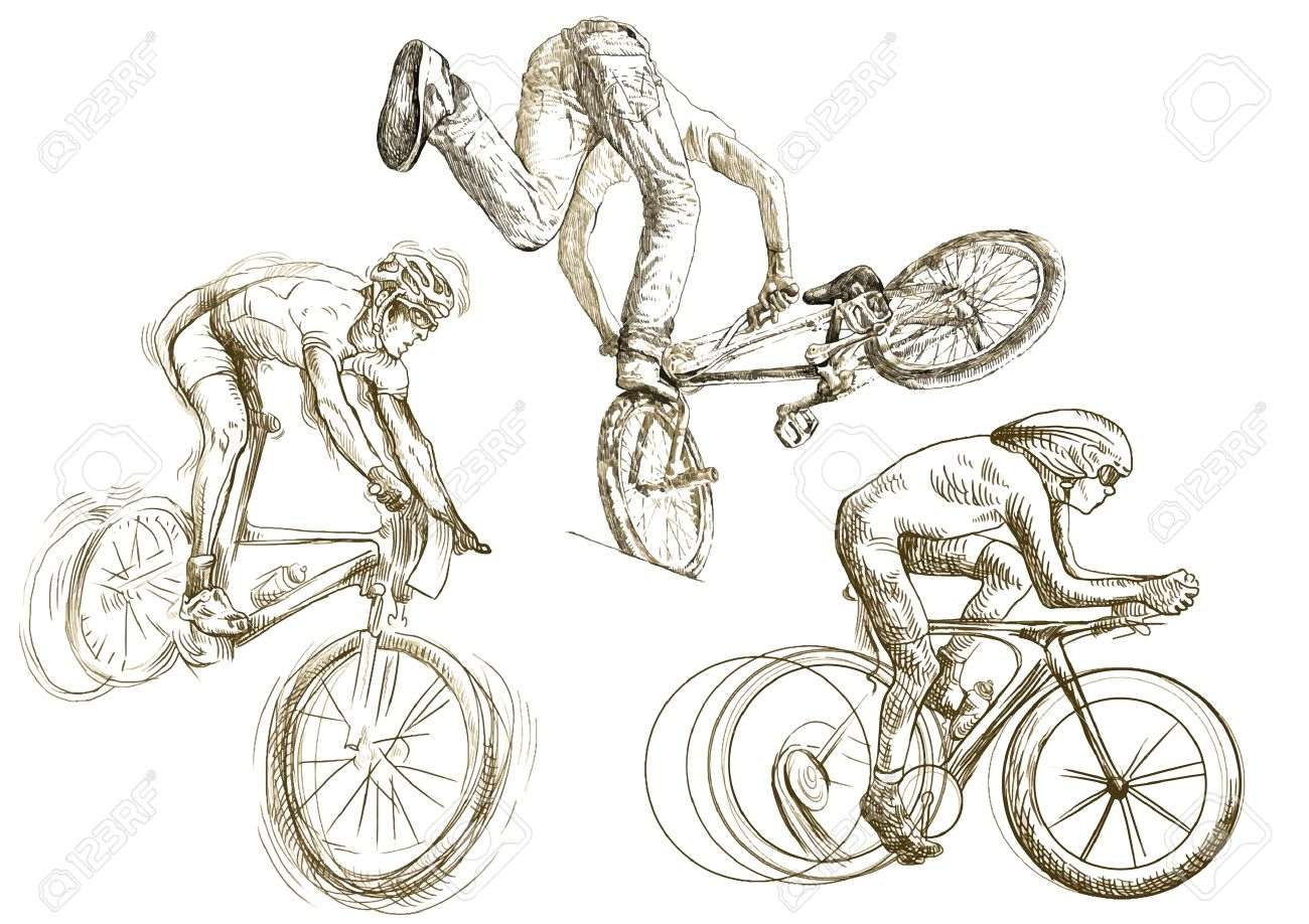 1300x918 Bicycle Sport Hand Drawing Little Collection Of Sketches Royalty