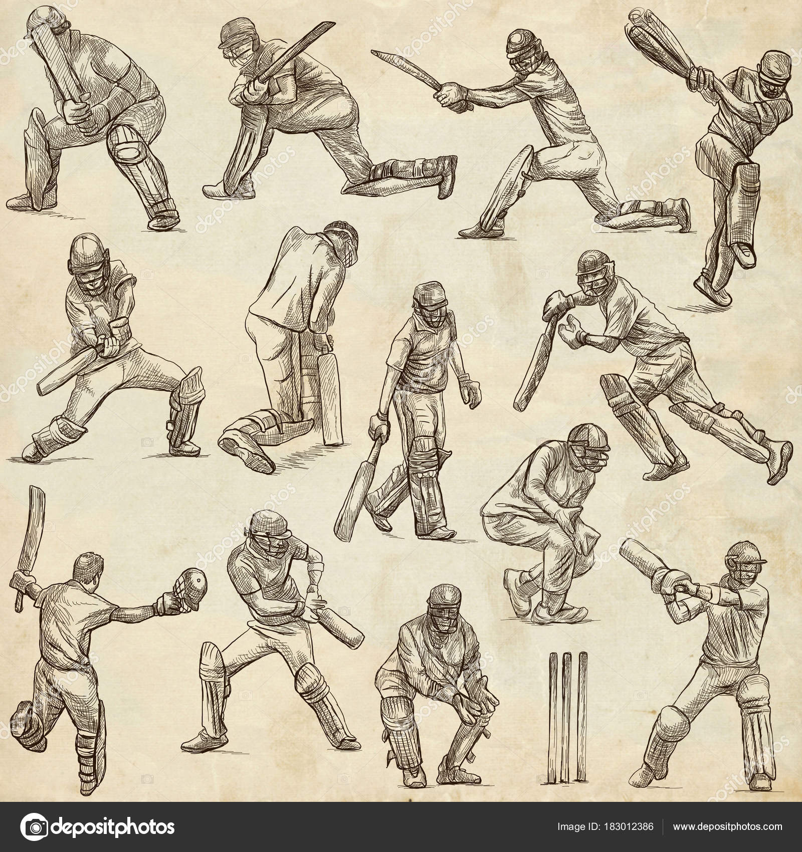 1600x1700 Cricket Sport Collection. Cricketers. Full Sized Hand Drawings O