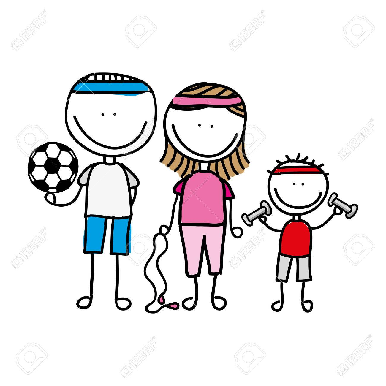 1300x1300 Happy Family Sport Drawing Isolated Icon Design, Vector