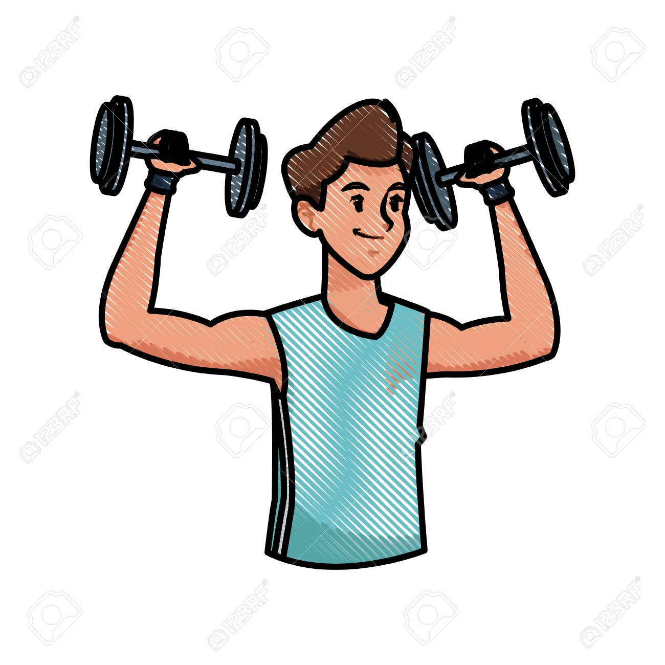 1300x1300 Sport Man Weight Strong Workout Weight Draw Vector Illustration