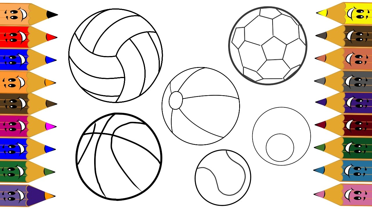 1280x720 Sport Ball Children,coloring And Drawing With Sport Balls