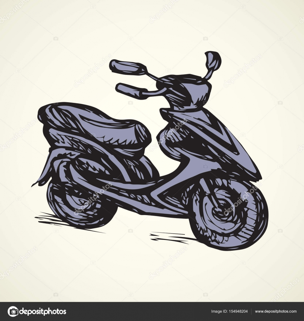 972x1024 Motorcycle. Vector Drawing Stock Vector Marinka