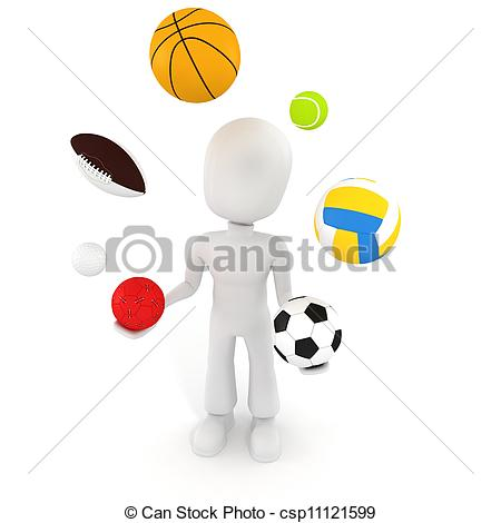 450x470 3d Man Playing With Different Sport Balls Stock Illustration