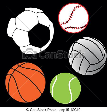 450x470 Different Sports Balls On Black Background Vector Clip Art