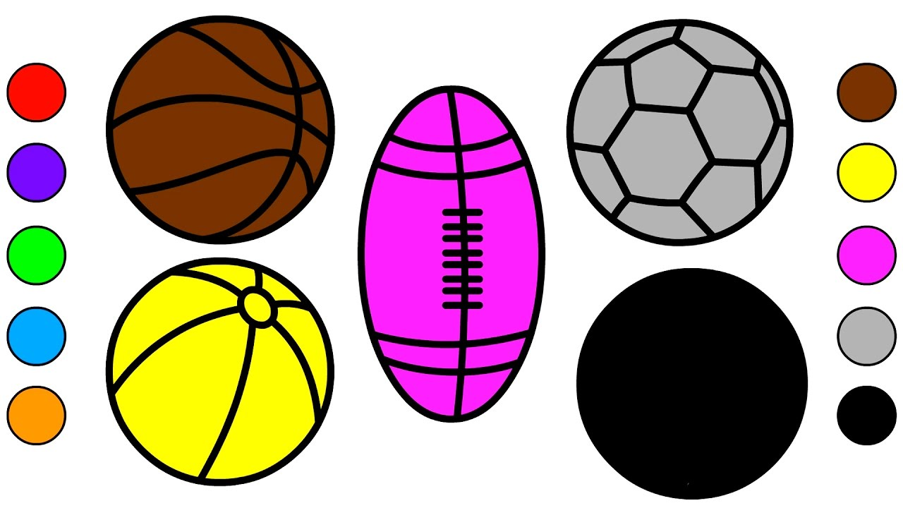 1280x720 Learn Colors For Kids With Sport Balls Coloring Pages Colors