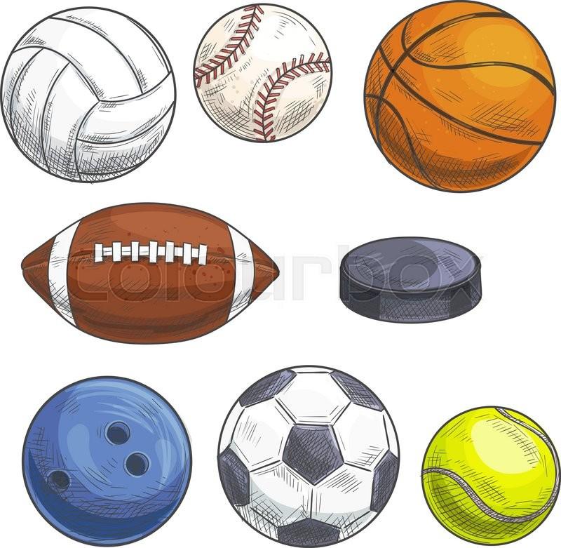 800x781 Sport Balls Set. Hand Drawn Color Pencil Illustration. Vector