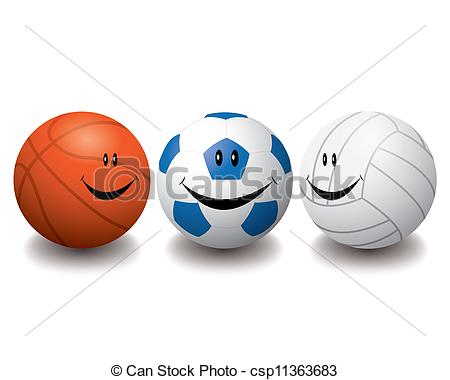 450x380 The Abstract Of Smile Sport Balls Vector