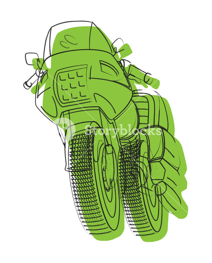 807x1000 Green Sports Bike Drawing Royalty Free Stock Image