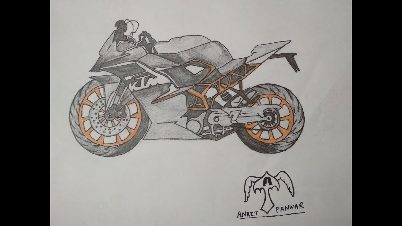 Sports Bike Drawing At Free For Personal Use Cartoon Dirt Engine Diagram 1280x720 How To Draw A Ktm Rc 200 Step By