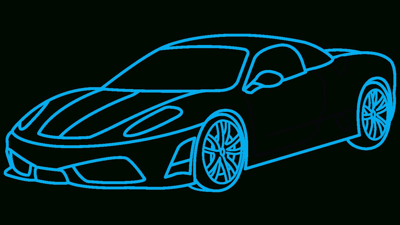 1280x720 Cars Sketch Drawing How To Draw Ferrari 360, A Sports Car, Easy