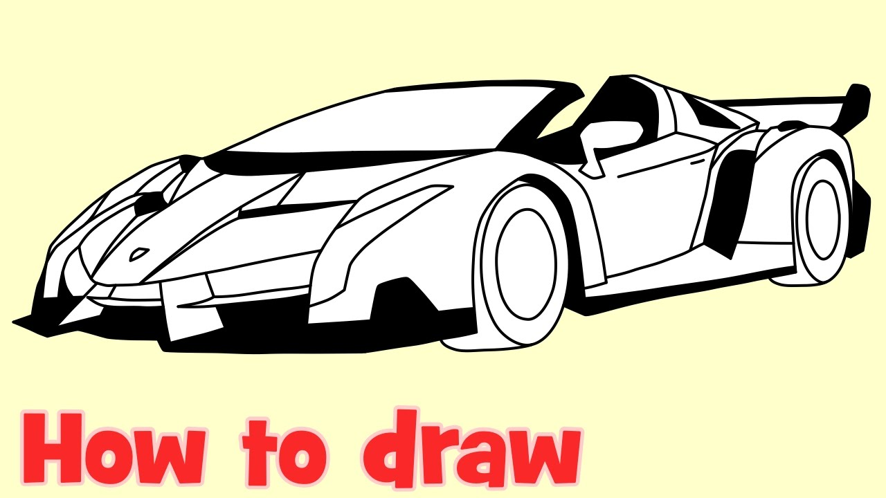 1280x720 How To Draw A Car Lamborghini Veneno Roadster Step By Step Drawing