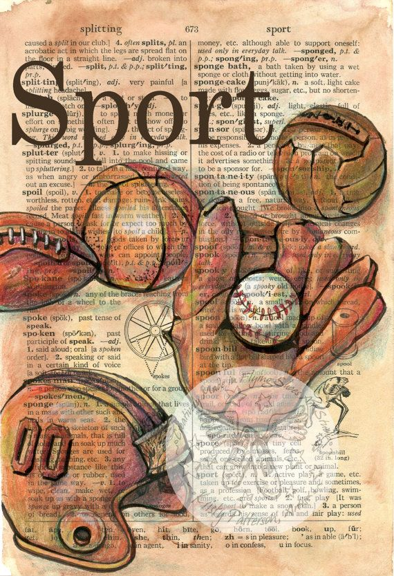 570x833 Print Vintage Sports Equipment Mixed Media Drawing On Distressed
