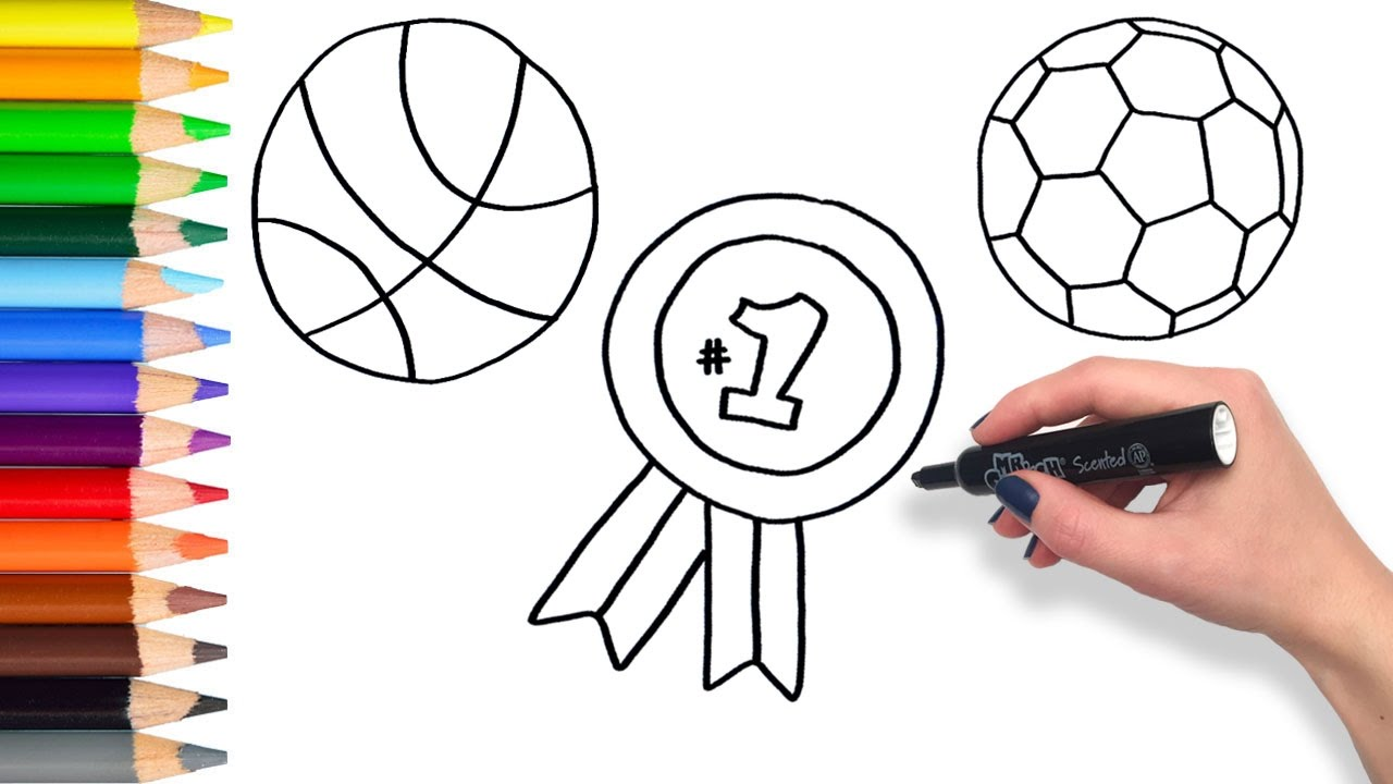 1280x720 Learn To Draw Sports Compilation Teach Drawing For Kids Coloring
