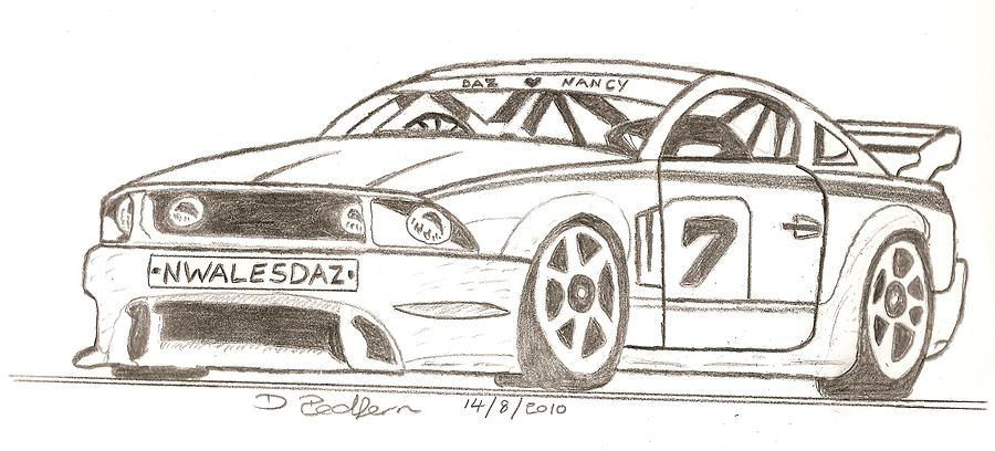 900x408 Sport Car Drawing By Darryl Redfern