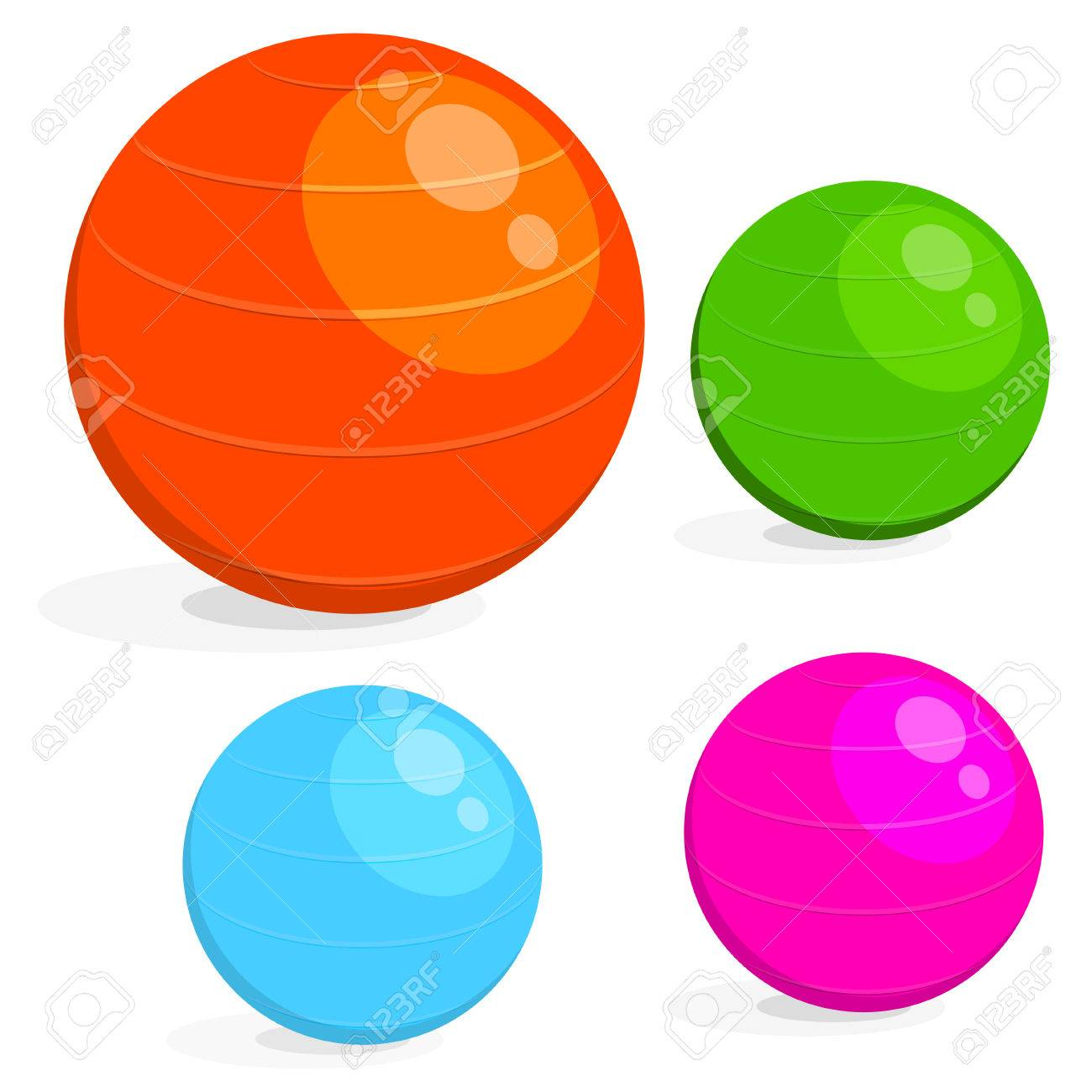 1300x1300 Cartoon Image Set The Ball For Fitness. Colorful Drawing