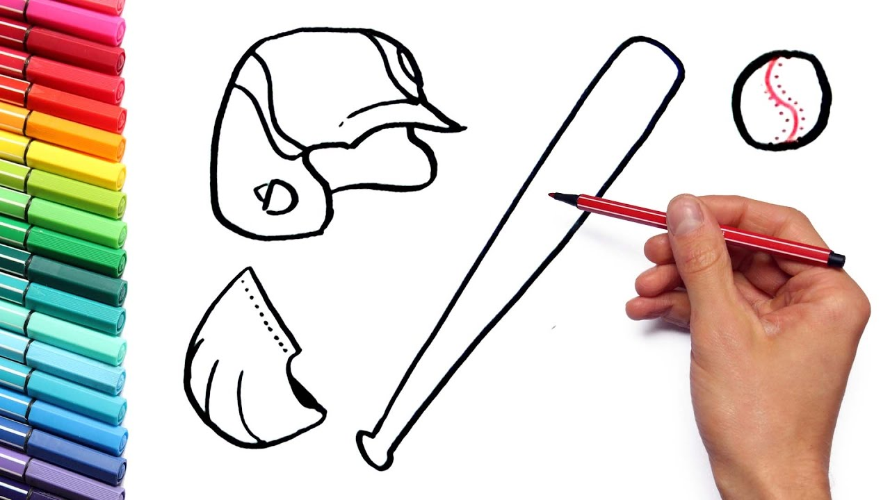 1280x720 Drawing Baseball Sport Equipment Coloring Page How To Draw