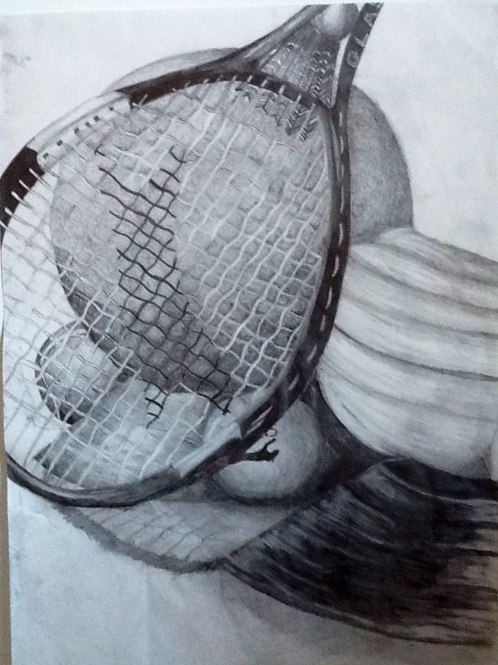 720x960 Pencil Drawing Of Sports Equipment. Art And Beautiful