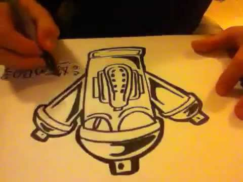 480x360 How To Draw A Graffiti Spray Paint Can With A Gals Mask