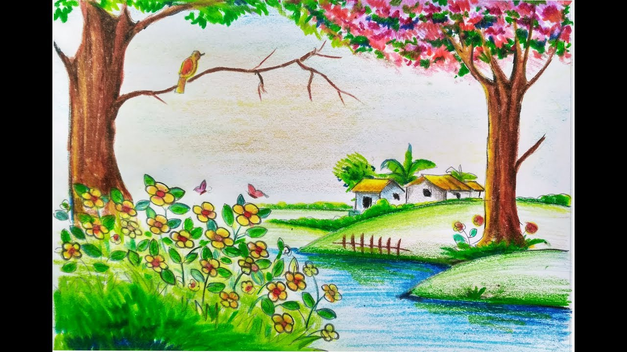 1280x720 Beautiful Nature Drawing For Kids How To Draw Scenery Of Beautiful
