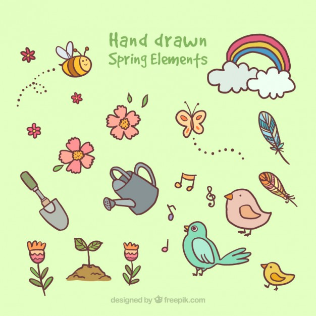 626x626 Drawings Spring Elements Vector Free Download