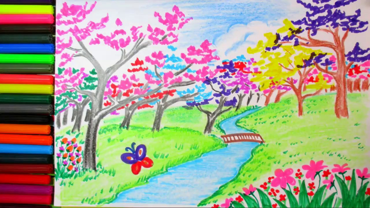 1280x720 How To Draw Spring Scene And Colorful Blossom Landscape Scenery